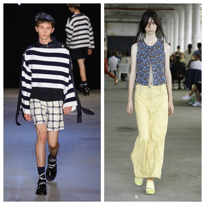 Spring/Summer 2019 looks from Monse (left) and Eckhaus Latta (right)