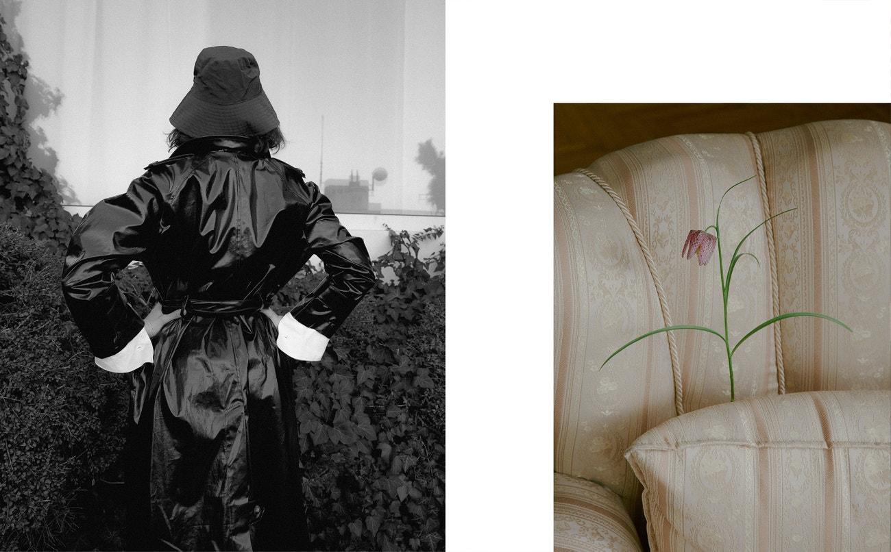 Kabát, NANUSHKA; košile, VIVIENNE WESTWOOD (prodává Alizé); klobouk, MAX MARA.
