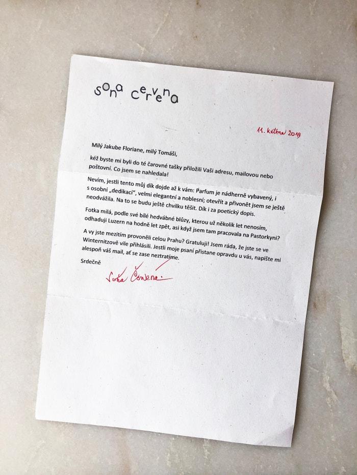 Dopis od Soni Červené