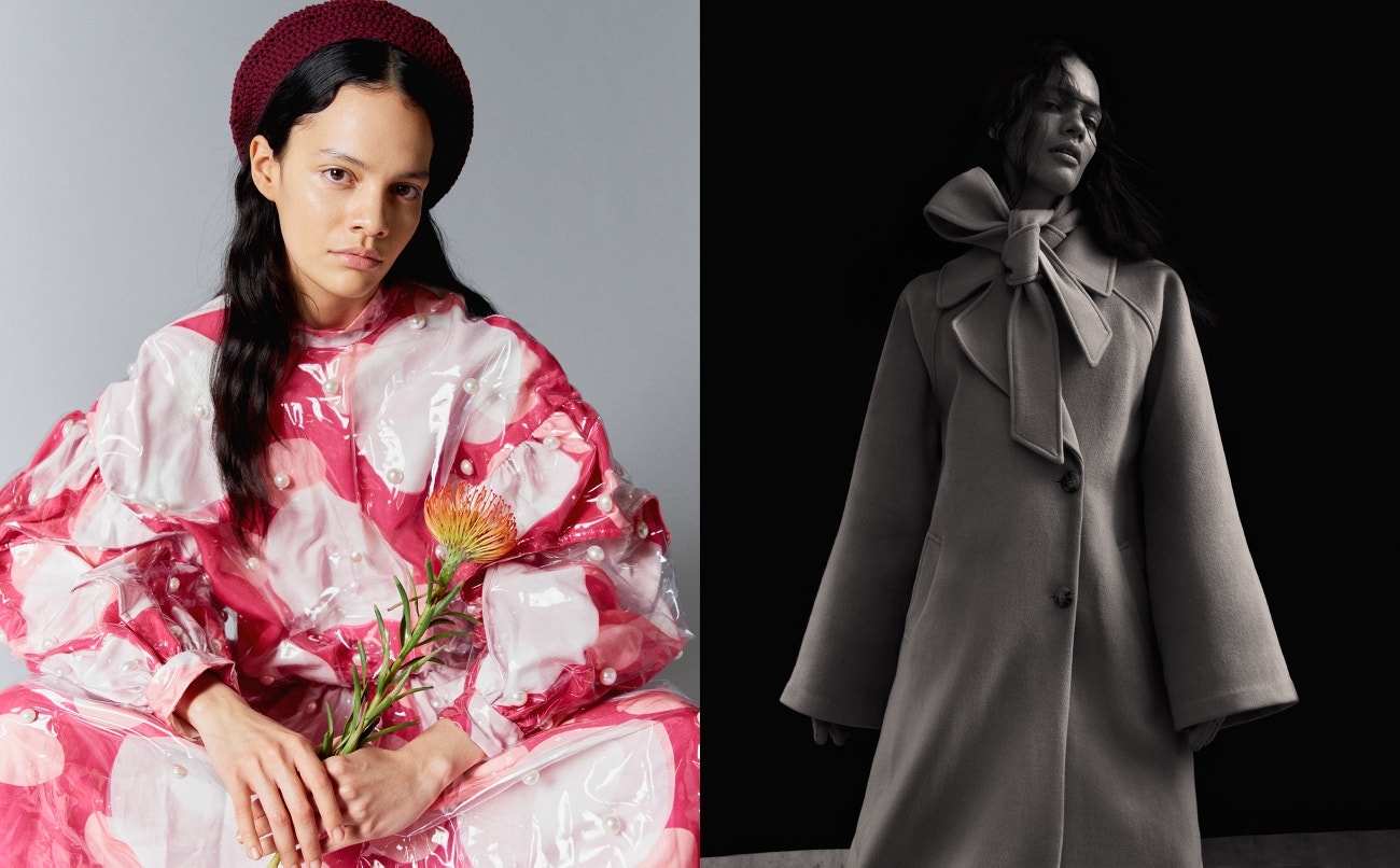 Vlevo: šaty, Matilda Envall; čepice, PHI.  Vpravo: kabát, Holzweiler.