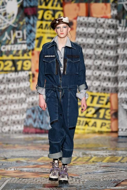 Finn Buchanan na přehlídce pro House of Holland AW19, London Fashion Week