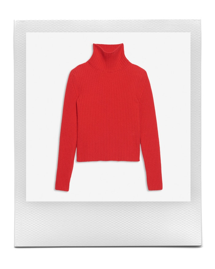 Turtleneck in red cotton and cashmere ribbed knit, Balenciaga, sold by Balenciaga, 850 EUR