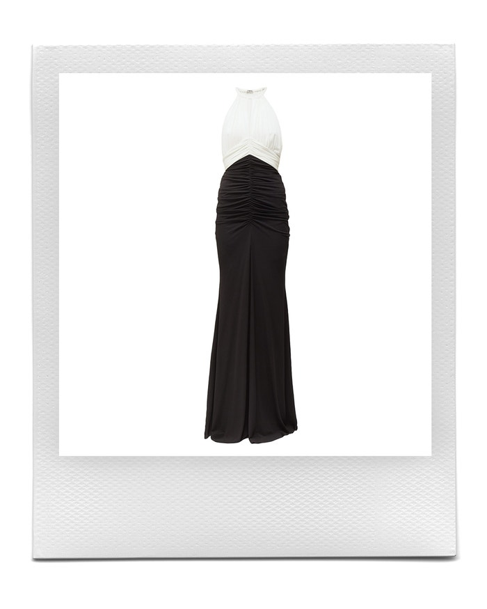 Halterneck ruched crepe gown, Alexander McQueen, sold by Matchesfashion, 3,290 EUR