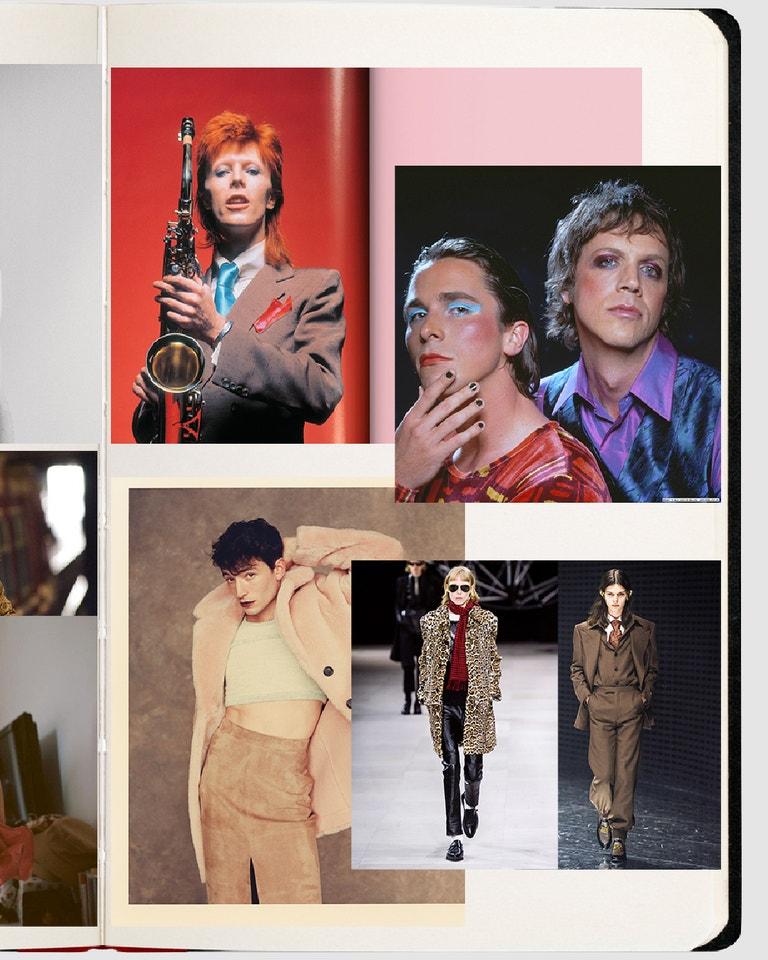 Kniha: The Rise of David Bowie by Mick Rock; film: Velvet Goldmine; Ezra Miller, Vogue CS archiv; Celine FW 2019, Gucci FW 2019, foto: Filippo Fior