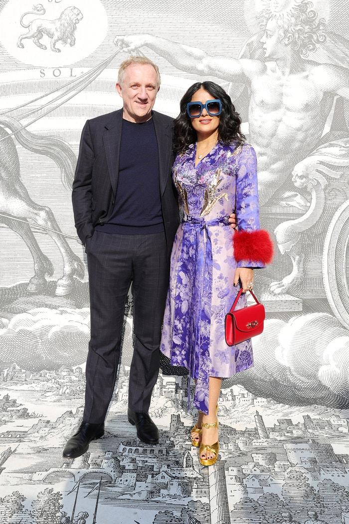 Salma Hayek a François-Henri Pinault, přehlídka Gucci Autumn/Winter 2019/2020, Milano Fashion Week, únor 2019