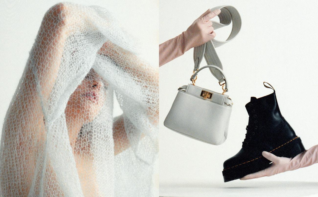 Vlevo: svetr, Iva P., prodává WWO.  Vpravo: rukavice a kabelka, Fendi; boty Jadon Platform, Dr. Martens, prodává Vemzu.