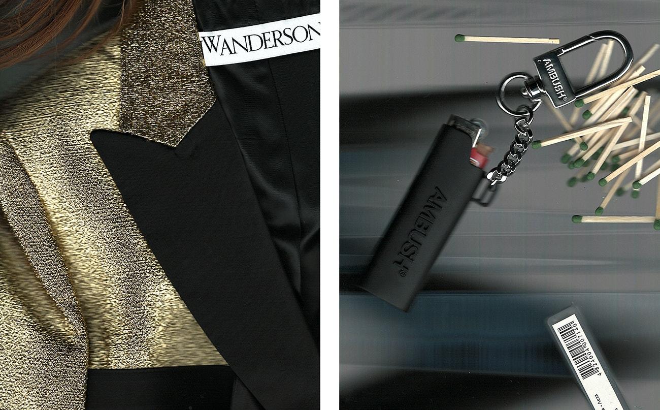 Vlevo: blazer, JW Anderson.  Vpravo: pouzdro, Ambush.