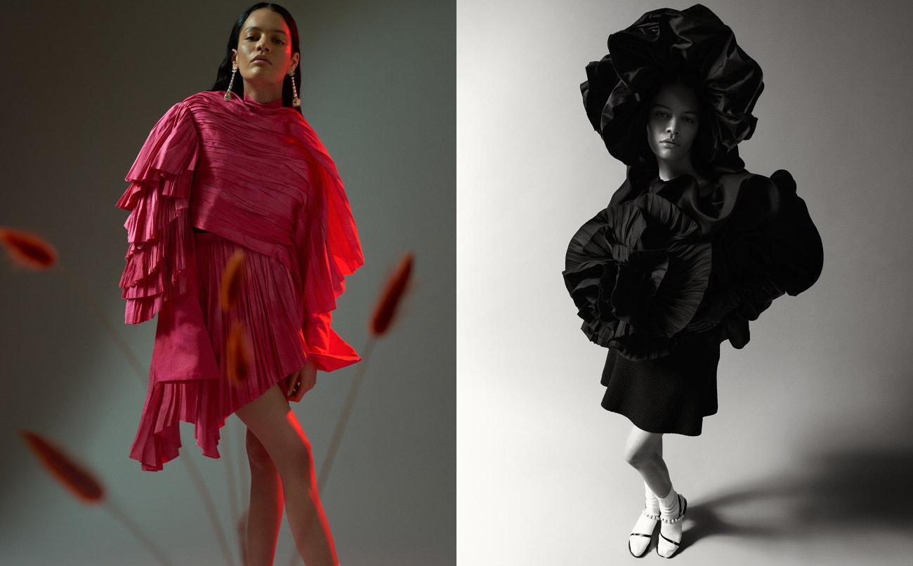 Vlevo: top, sukně, obojí Robin Söderholm; náušnice, Chanel.  Vpravo: šaty, Robin Söderholm; ponožky, Falke; boty, Chanel.