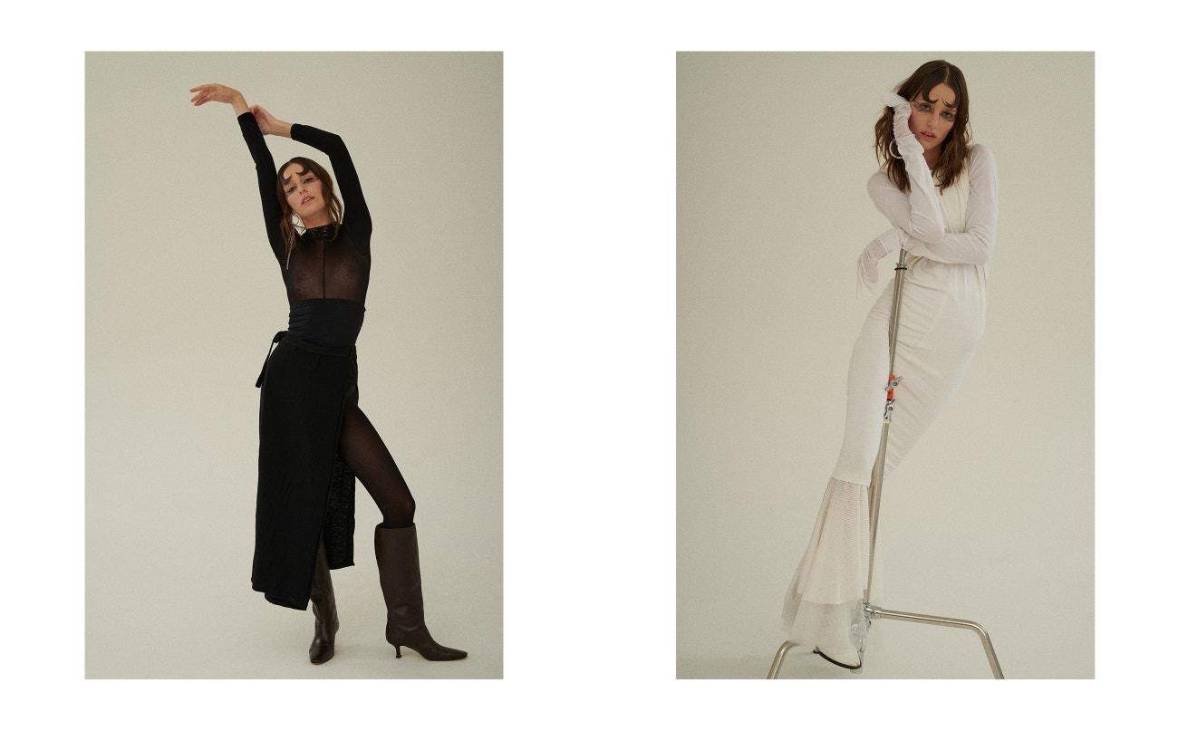 Vlevo: body, Vintage; sukně, Rick Owens; boty, Zara; náušnice, Justine Clenquet.  Vpravo: šaty, Alexander Wang; kalhoty, Krystian Szymczak; boty, Vintage.
