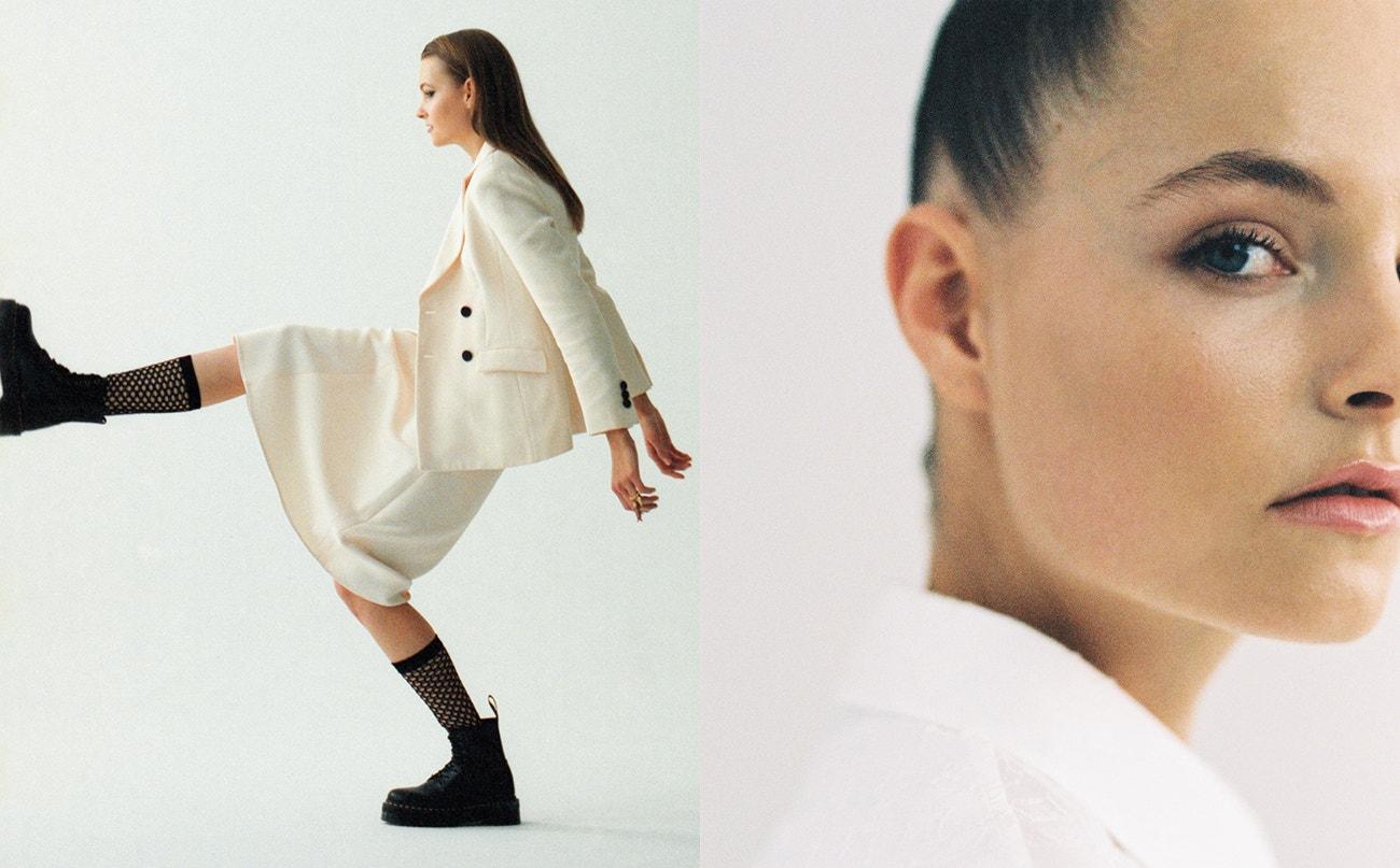 Vlevo: sako, sukně, podkolenky, prsten, vše Dior; boty Jadon Platform, Dr. Martens, prodává Vemzu.  Vpravo: košile, Louis Vuitton.