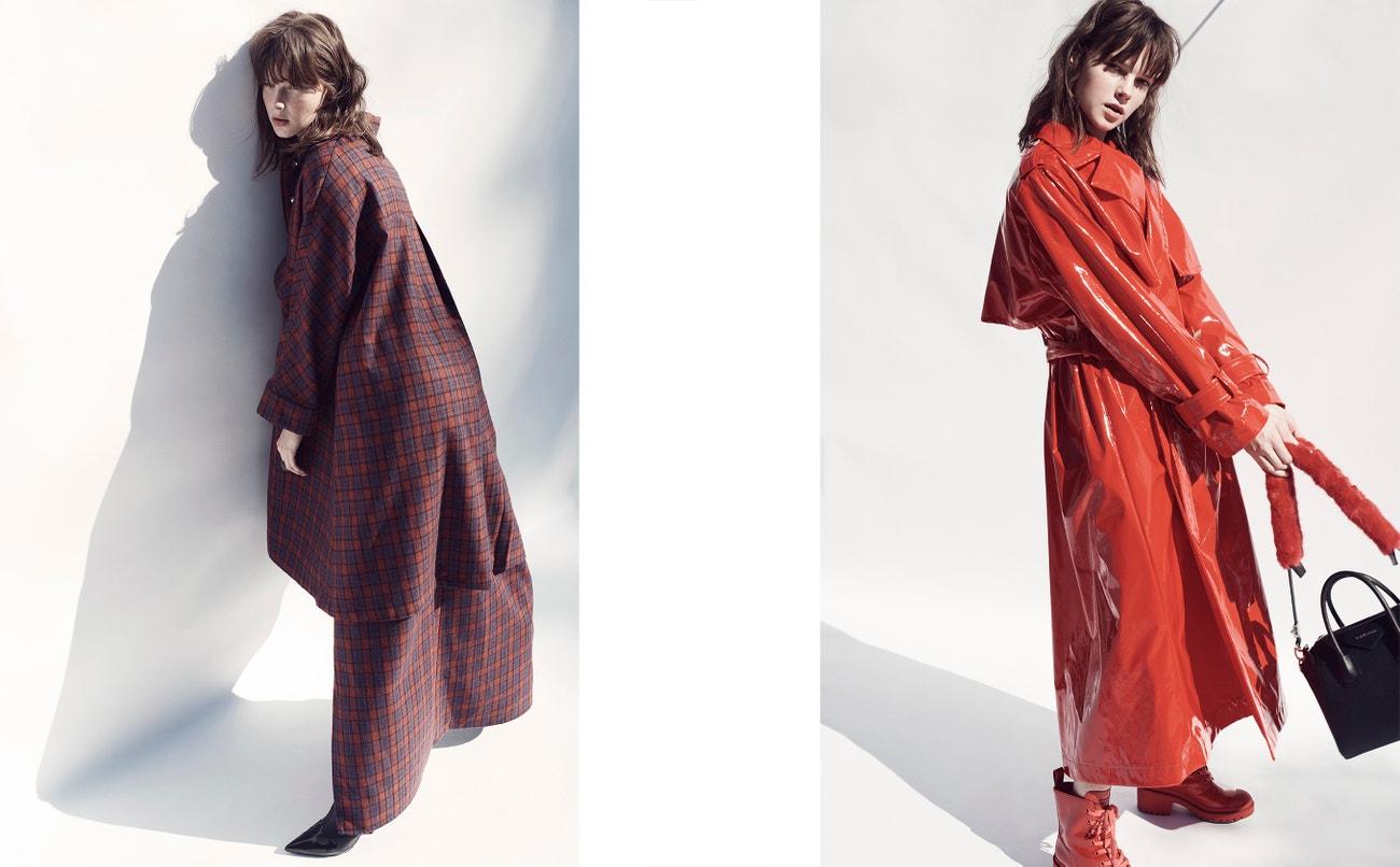Vlevo: kabát, kalhoty, obojí Maria Roch; prsten, Line Argent; boty, Isabel Marant.  Vpravo: kabát, Vivetta; kabelka, Givenchy; boty, Marc Jacobs (prodává Jofré).
