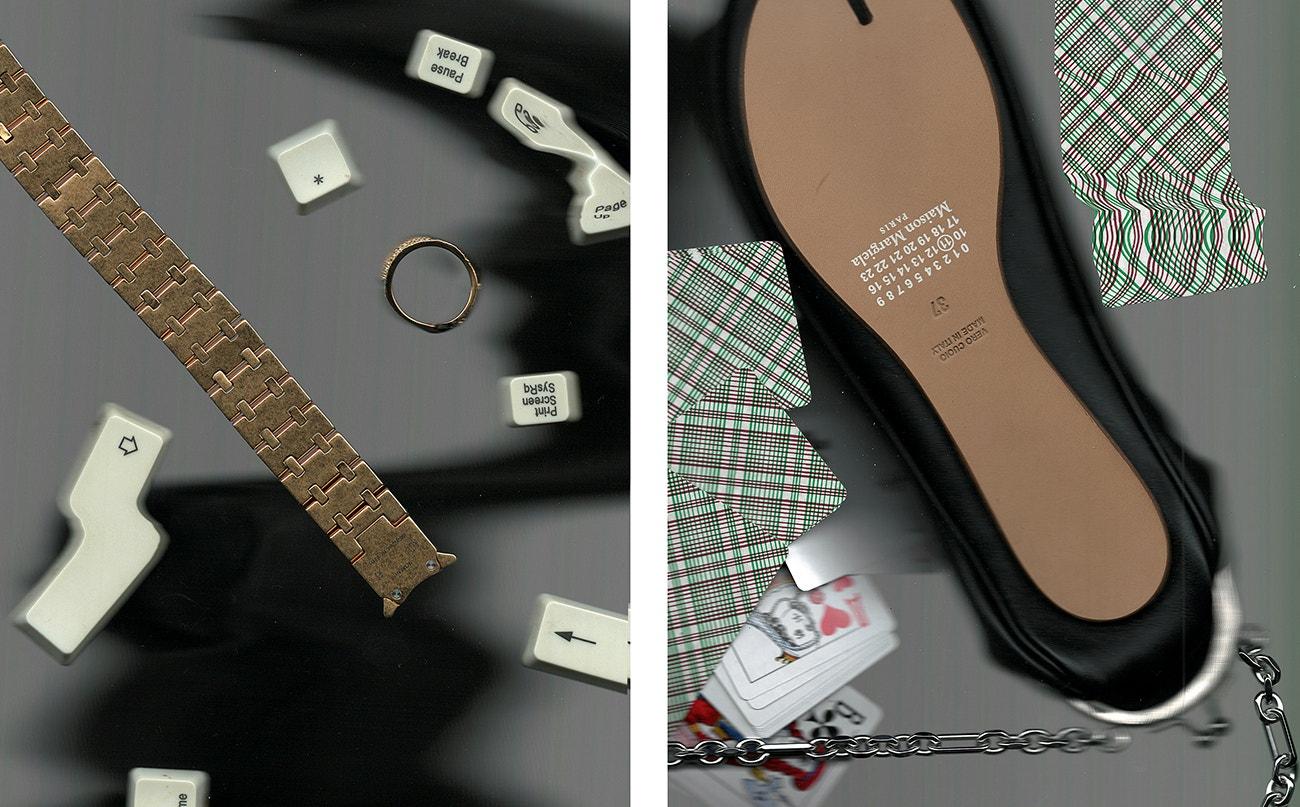 Vlevo: náramek, 1017 ALYX 9SM; prsten, Ambush.  Vpravo: taška, Maison Margiela.