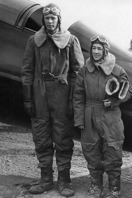 Charles August Lindbergh se svou manželkou, 1932