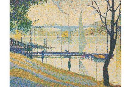 Bridget Riley, 2018: kopie obrazu 'Le Pont de Courbevoie', jehož autorem je Georges Seurat, 1959