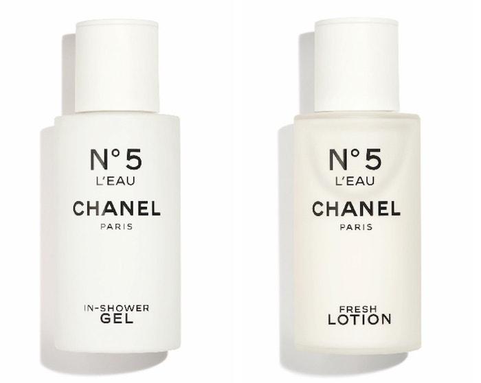 Parfémovaný sprchový gel No. 5 L'Eau, 1120 Kč, parfémované tělové mléko No. 5 L'Eau, 1400 Kč, oboje Chanel