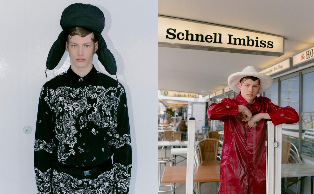 Vlevo: košile, kalhoty, pásek, vše Sacai; čepice, Prada.  Vpravo: kabát, Dries Van Noten; klobouk, Gucci.