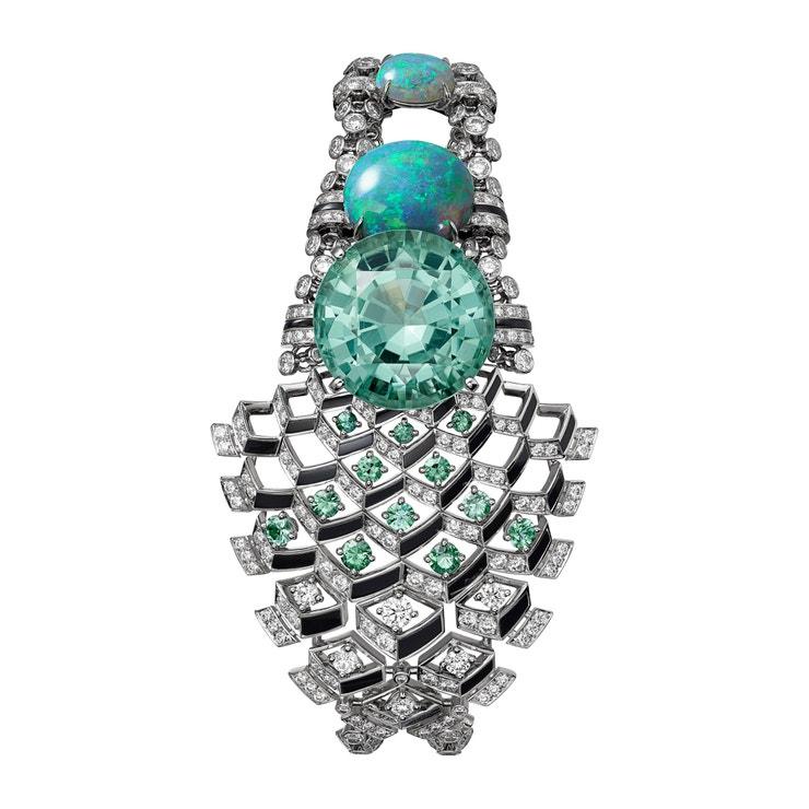 Platinový náramek Matsuri s turmalíny, opály a diamanty, Cartier