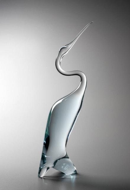 Miloslav Klinger: Volavka, 1965, ručně na huti tvarované sklo