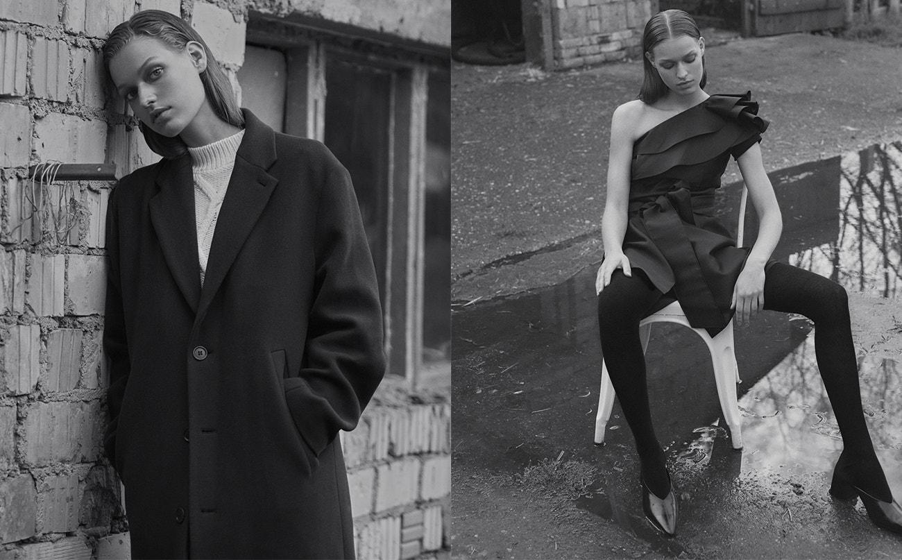 Vlevo: svetr, Max Mara; kabát, Stella McCartney.  Vpravo: šaty, Alberta Ferretti; punčocháče, Wolford; boty, Givenchy.