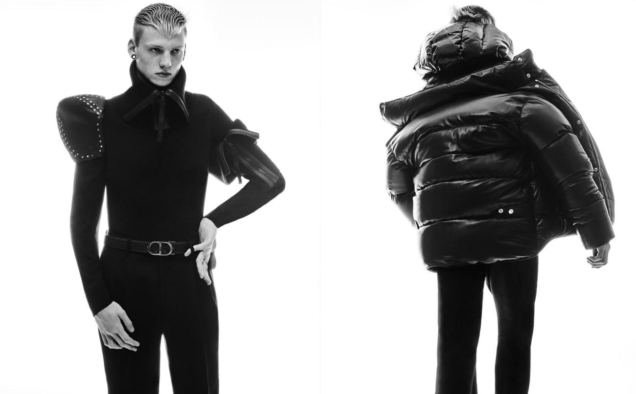 Vlevo: _ rolák, Dsquared2; kšiltovka, Loewe; kalhoty, Alexander McQueen; pásek, Dior;  límeček, Reebok x Victoria Beckham.  Vpravo: bunda, Balmain; kalhoty_, Alexander McQueen.