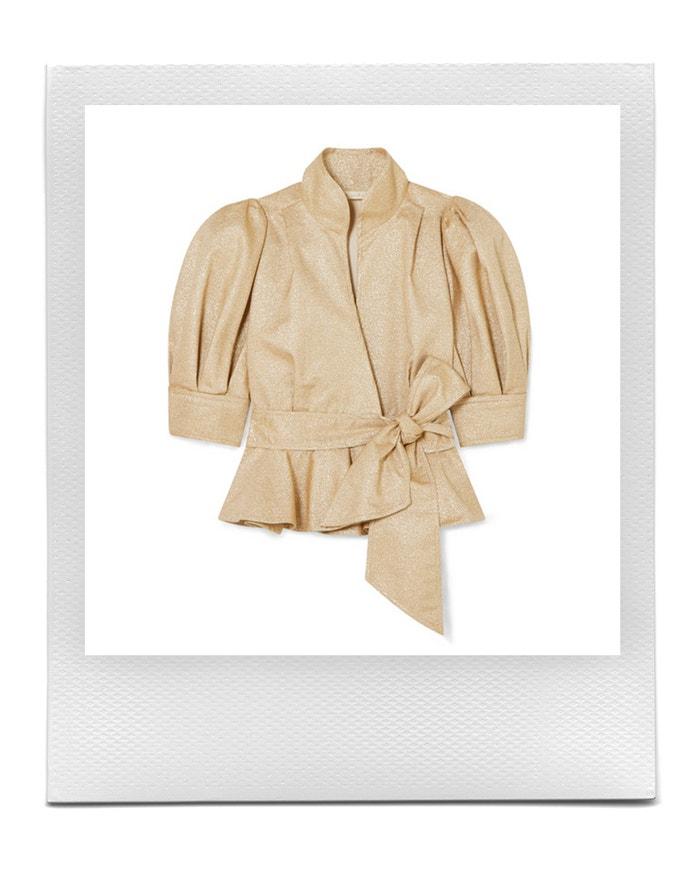 Zavinovací metalické sako s krátkými rukávy, Anna Mason, prodává Net-a-Porter, € 784  Autor: Archiv firmy