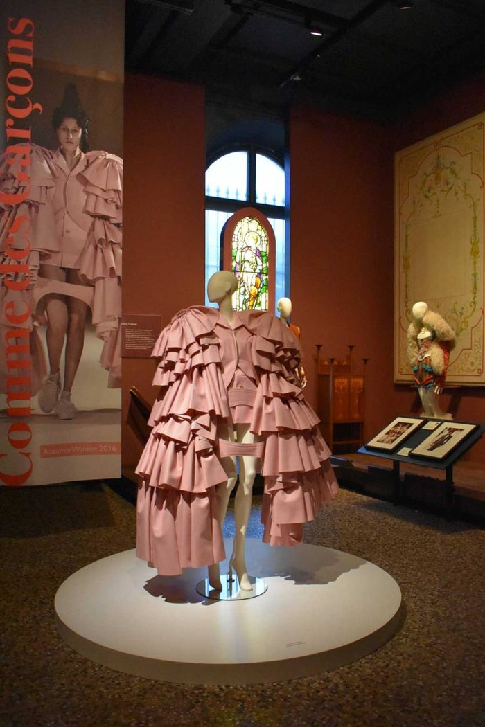 An installation at the Chris Moore exhibition at the Bowes Museum, featuring this ensemble by Comme des Garçons, Autumn/Winter 2016.