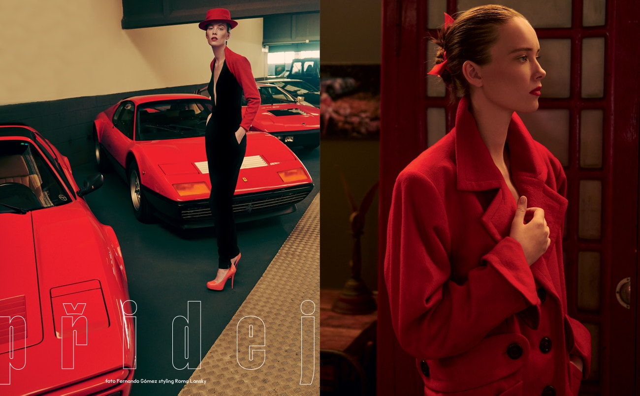 Vlevo: kabát, SAINT LAURENT by Anthony Vaccarello.  Vpravo: body, WOLFORD; vesta, ALLUDE; kalhoty aboty, obojí DOLCE&GABBANA; klobouk, PHILIP TREACY.