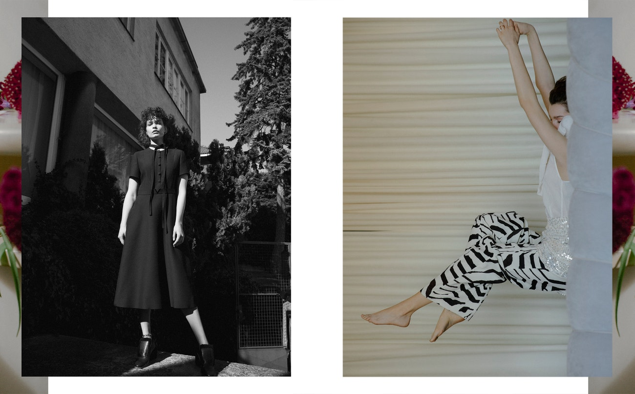 Vlevo: šaty, VALENTINO (prodává Alizé); boty, NEHERA; náramek, DZRBERG/KERN (prodává Moloko).  Vpravo: top, sukně, kalhoty, vše H&M STUDIO.