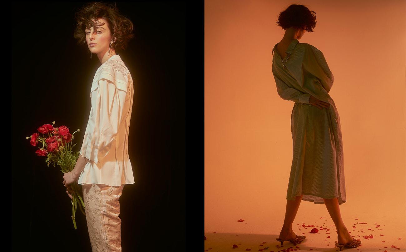 Vlevo: halenka, CHLOÉ, kalhoty, MARNI; vpravo: šaty, ROMANCE WAS BORN, boty, stylistky vlastní