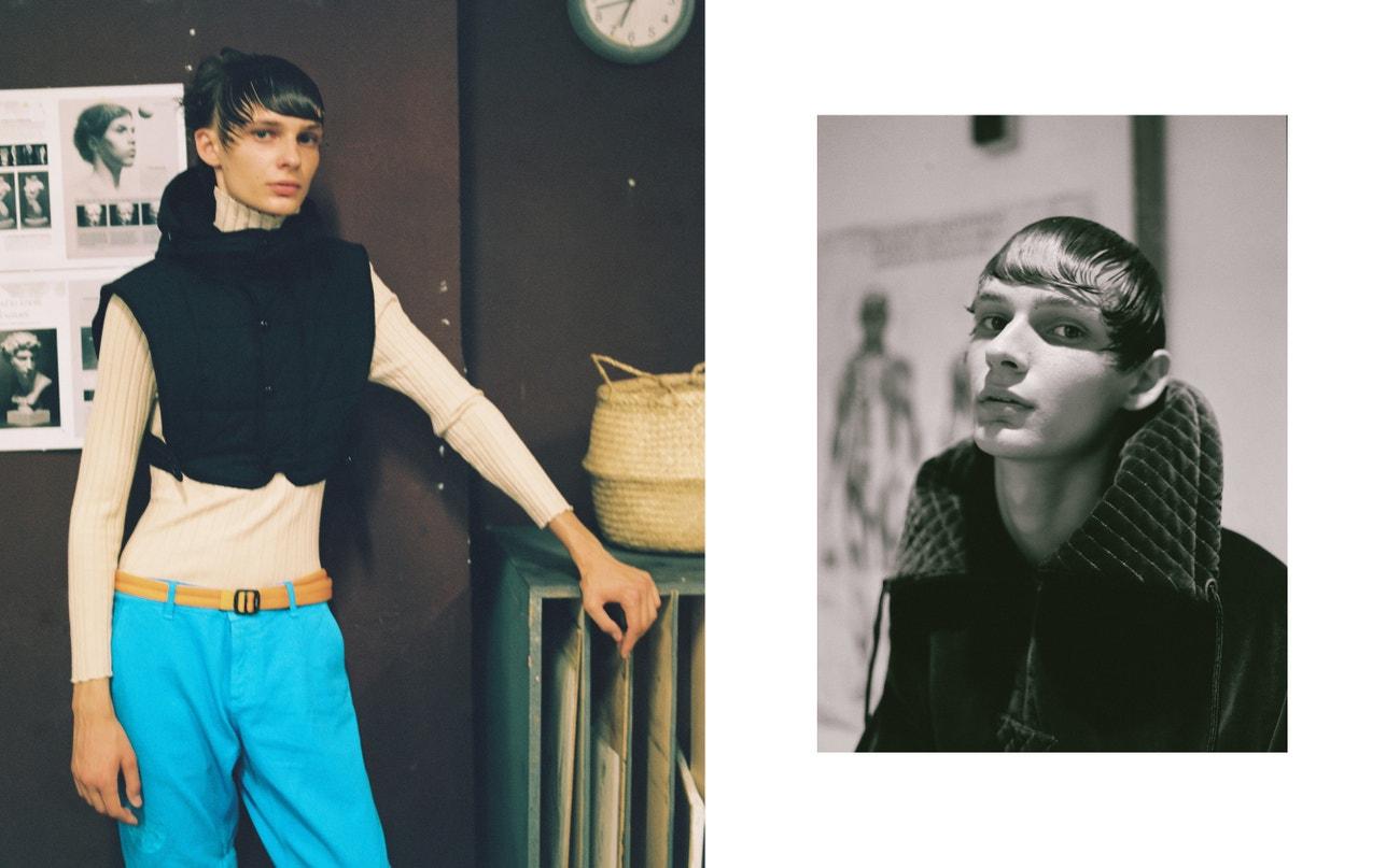 Vlevo: svetr, vesta, obojí Dries Van Noten; kalhoty, Kenzo.  Vpravo: sako, Palomo Spain.