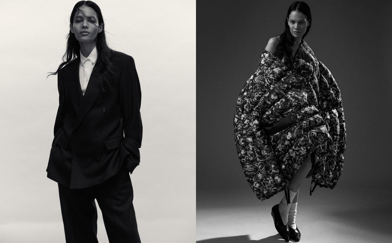 Vlevo: kostým, BLK DNM; košile, Acne Studios.  Vpravo: péřová bunda, Anastasia Jansäter; ponožky, Uniqlo; boty, Arket.