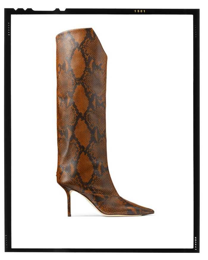 Cuoio Snake Printed Leather Knee-High Boots, Jimmy Choo, sold by Jimmy Choo, 950 GBP