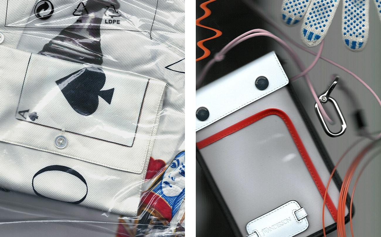 Vlevo: košile, Monse.  Vpravo: taška, JW Anderson.