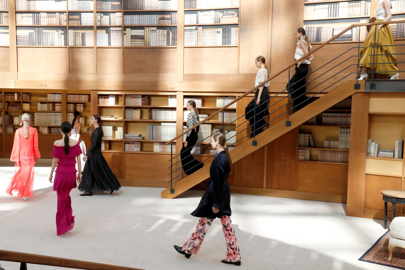 Chanel autumn/winter 2019 couture saw the Paris Grand Palais transformed into a giant library.