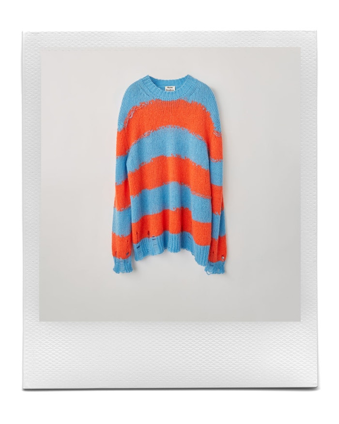 Distressed striped sweater blue/coral, Acne Studios, sold by Acne Studios, 350 €