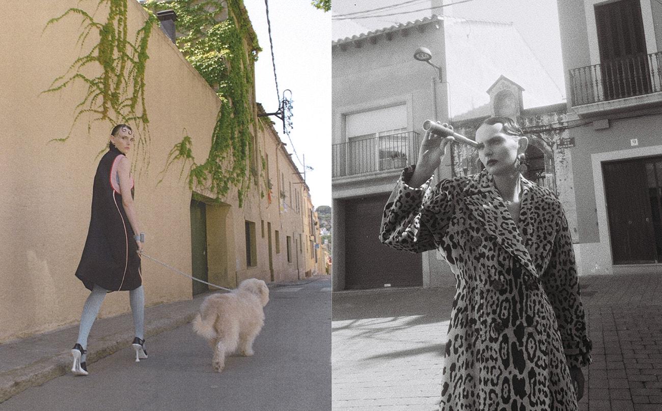 Vlevo: šaty, boty, punčocháče, vše Prada.  Vpravo: kabát, punčocháče, obojí Miu Miu; náušnice, Moschino.