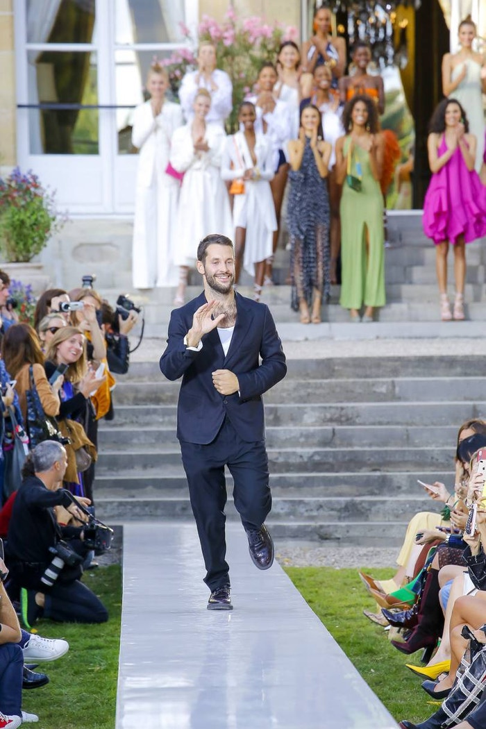Simon Porte Jacquemus takes a bow after his SS19 collection.