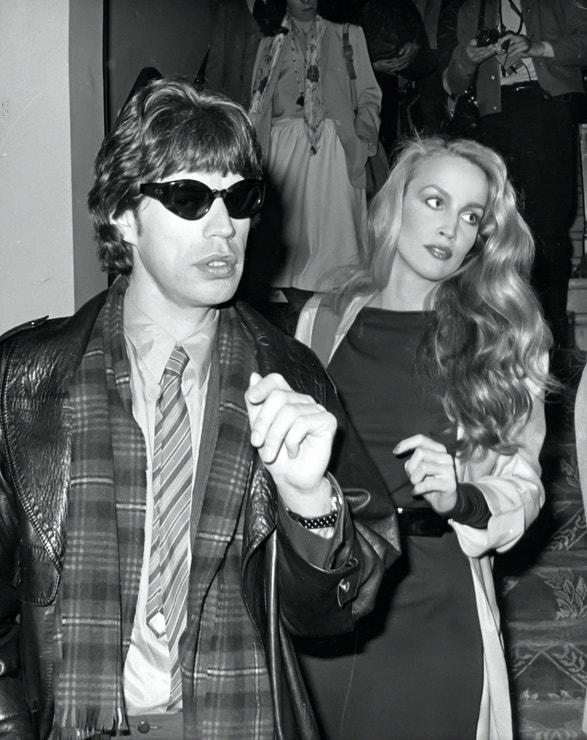 Mick Jagger a Jerry Hall na módní přehlídce v New Yorku, 1977
