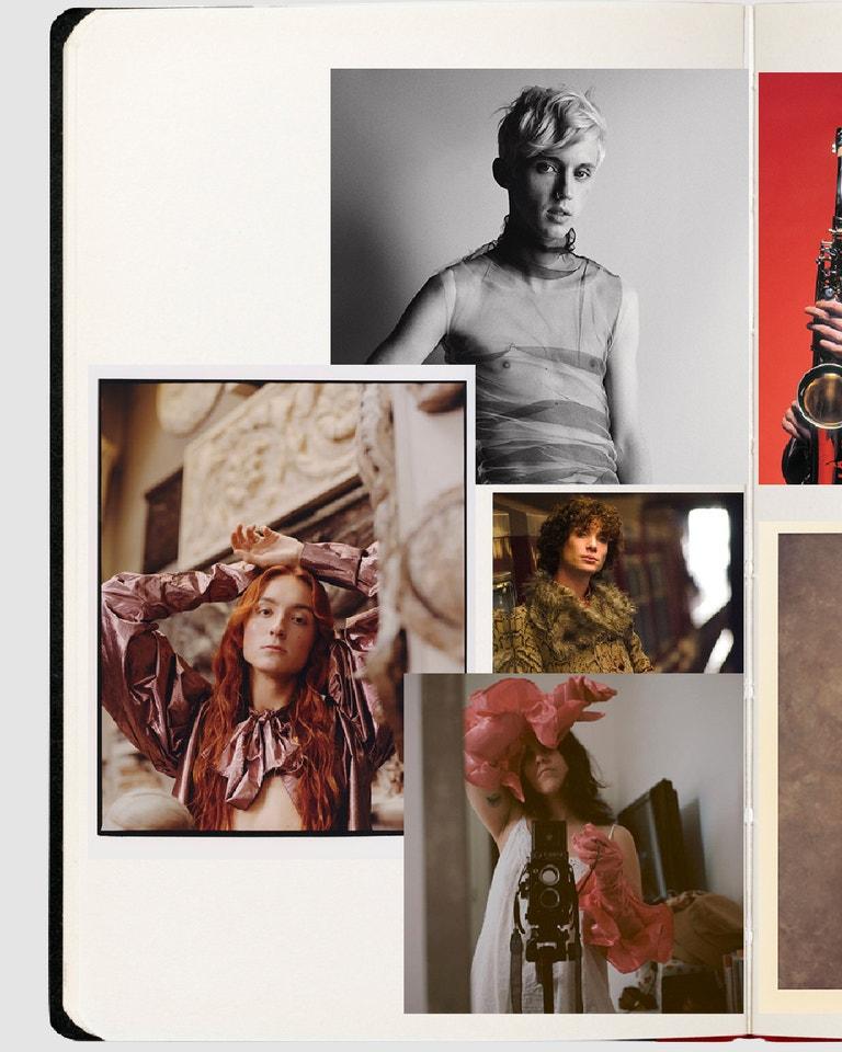 Harris Reed, foto: Jenny Brough pro ES Magazine; Troye Sivan, foto: Scott West; T Label, foto: Beatriz Puppo Amo; Film Breakfast on Pluto