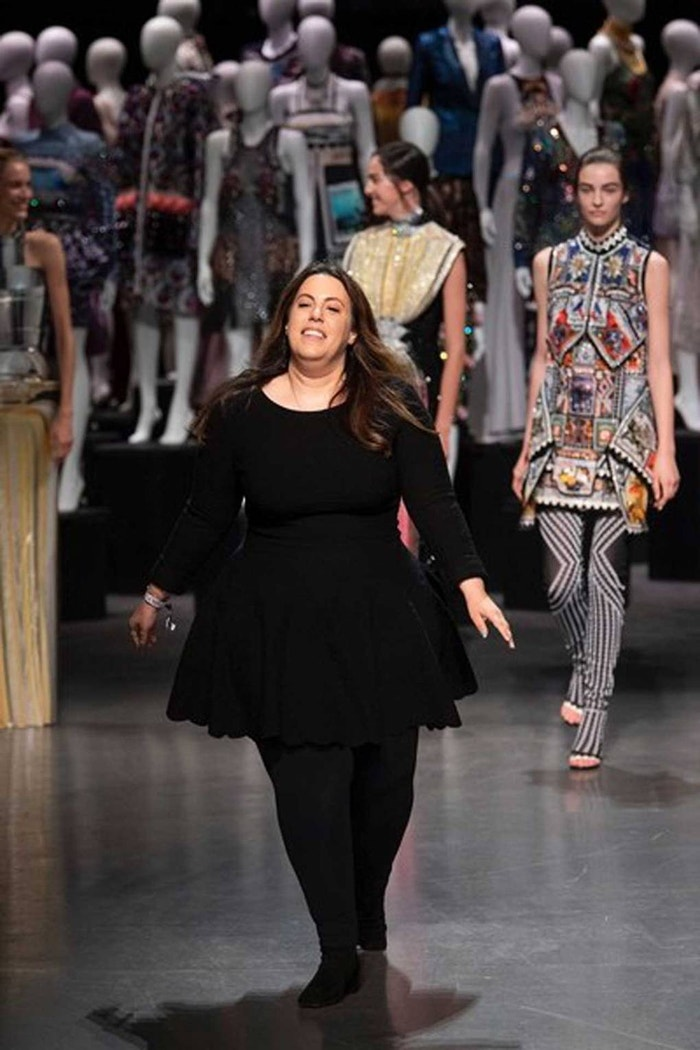 Mary Katrantzou takes a victory lap after the presentation of her Spring/Summer 2019 collection