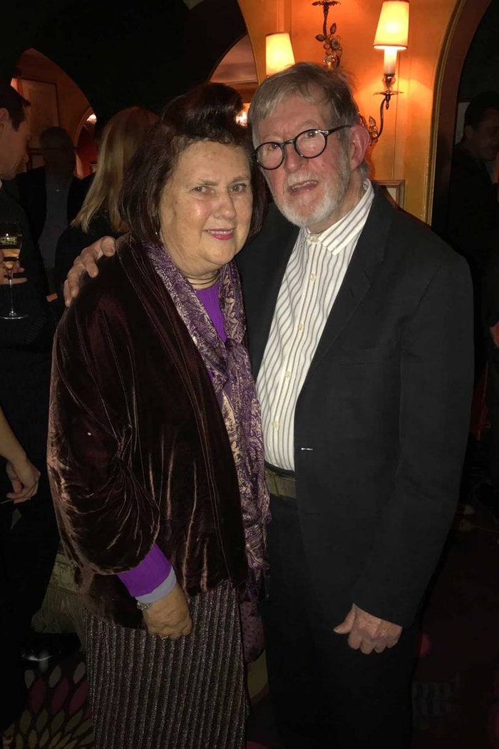 Suzy with Chris Moore in November 2017 at the launch of his book, Catwalking: Photographs by Chris Moore, written with Alexander Fury.