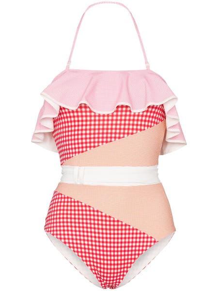 Kostkované plavky s volánem, Marysia, prodává Farfetch.com, 406 €