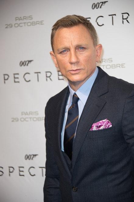 Daniel Craig na pařížské premiéře bondovky Spectre, říjen 2015