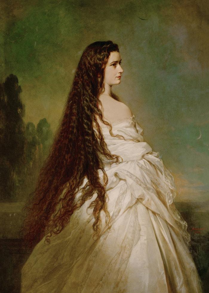 Sisi s rozpuštěnými vlasy, její velkou pýchou, namaloval roku 1846 Franz Xaver Winterhalter