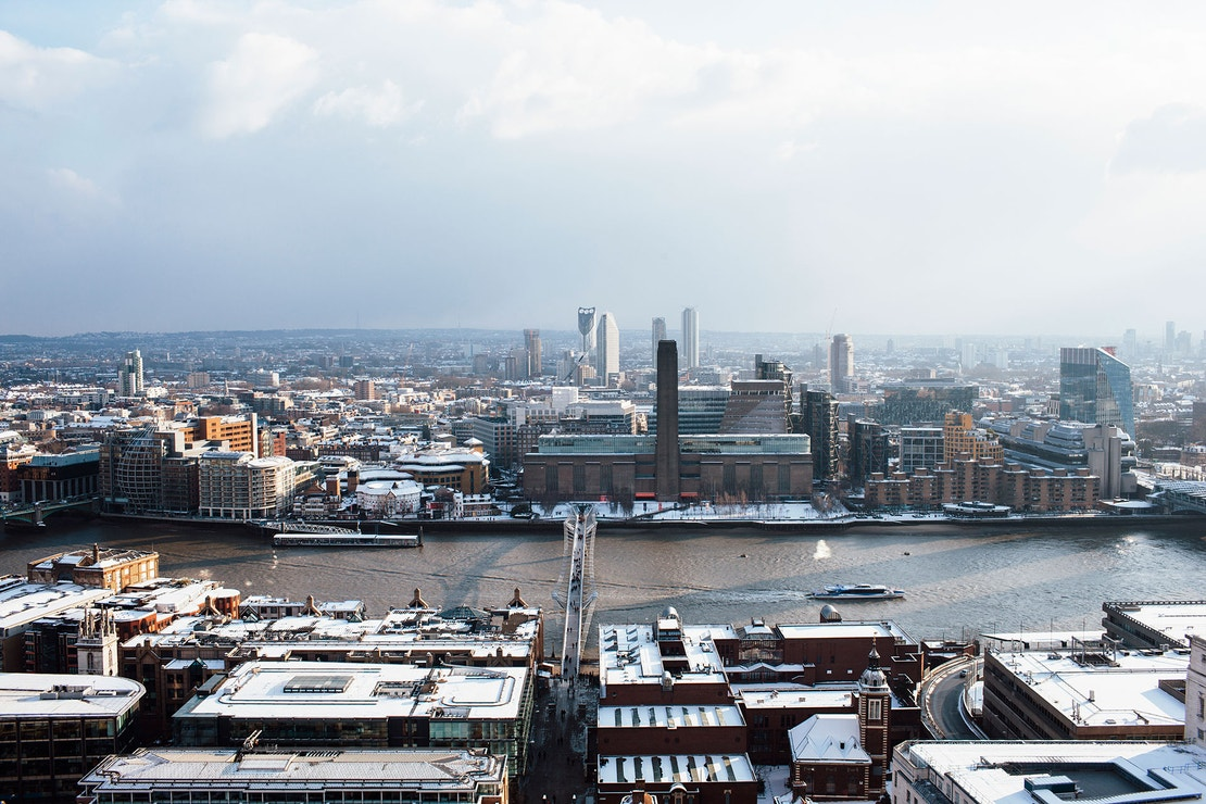 London city skyline in winter.