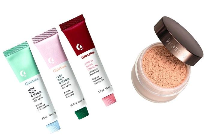 Balzám na rty Balm Dotcom, Glossier, 12 €, Translucent Loose Setting Powder Glow, Laura Mercier, 32 €