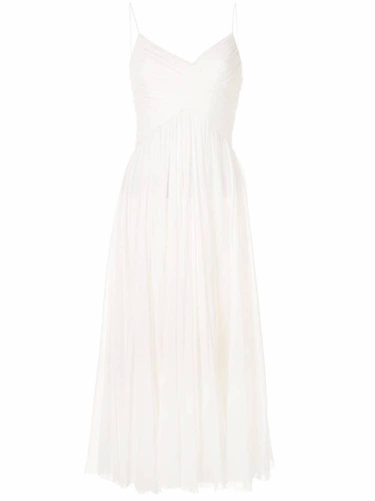Plisované bílé šaty na špagetová ramínka, ALEXIS SARRANA