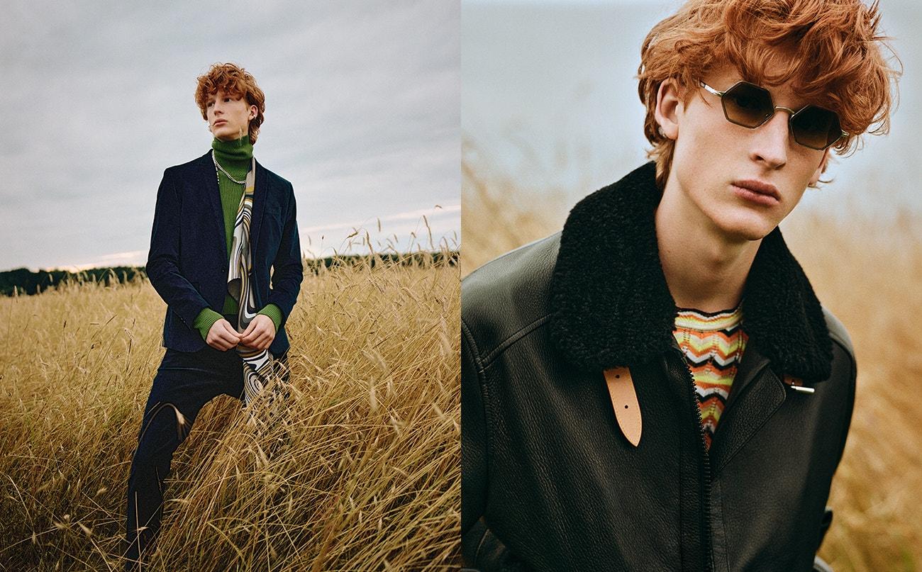 Vlevo: sako, Dolce & Gabbana; kalhoty, Etro; rolák, Boss; šála, Hermès; řetěz, Maison Margiela; náušnice, All Blues.  Vpravo: kožená bunda, Louis Vuitton; svetr, Victoria Beckham; brýle, Persol.