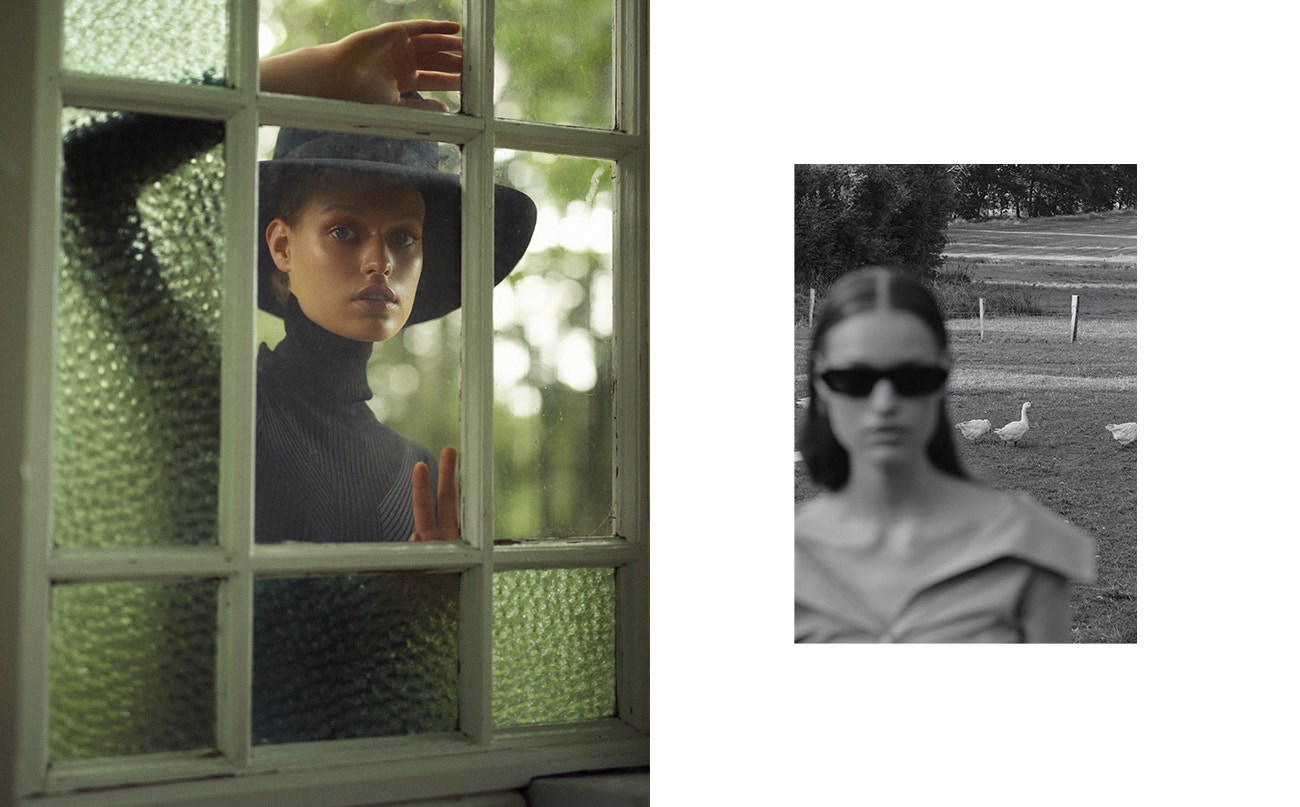 Vlevo: top, Alexander Wang; klobouk, Dolce & Gabbana.  Vpravo: top, Victoria Beckham; brýle, Gucci.
