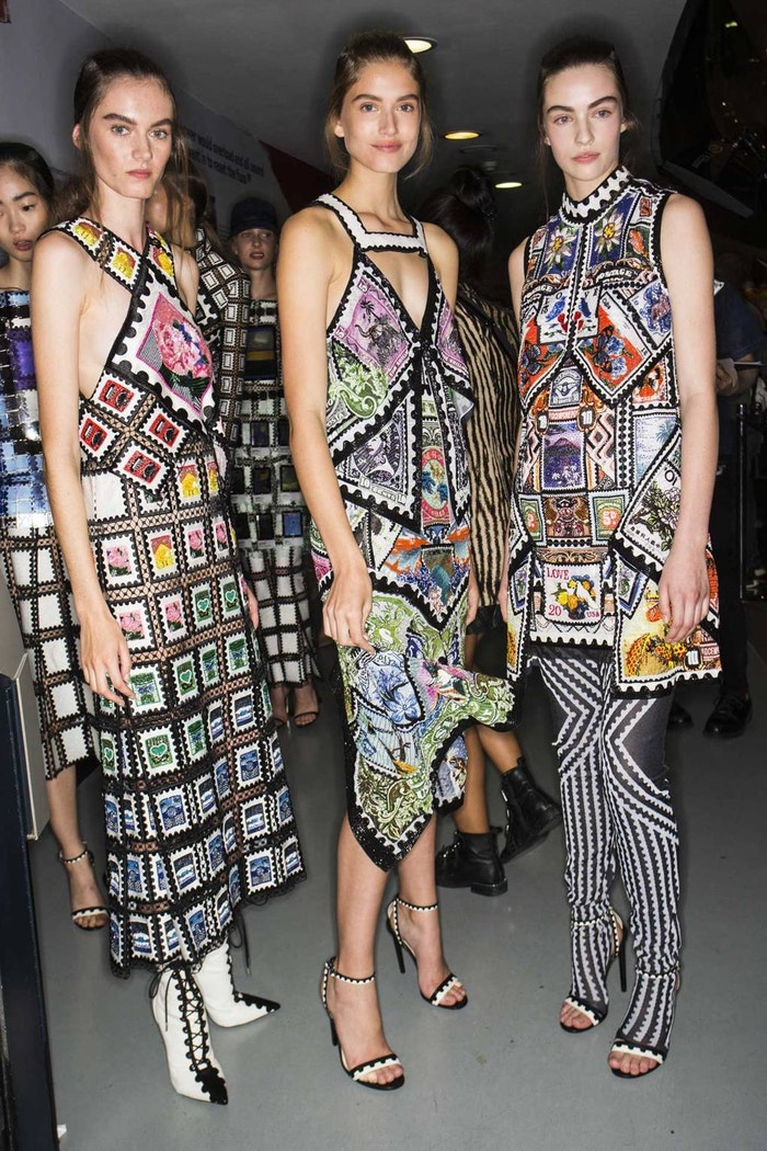 """Backstage at Mary Katrantzou Spring/Summer 2019 - the new """"Stamp"""" dresses"""